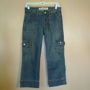 GAP 4 Low Rise Blue Cropped Cargo Jeans